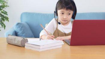 ノートパソコンで勉強する小学生