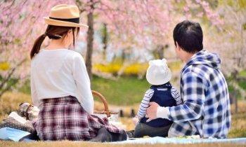 赤ちゃんと花見をする家族