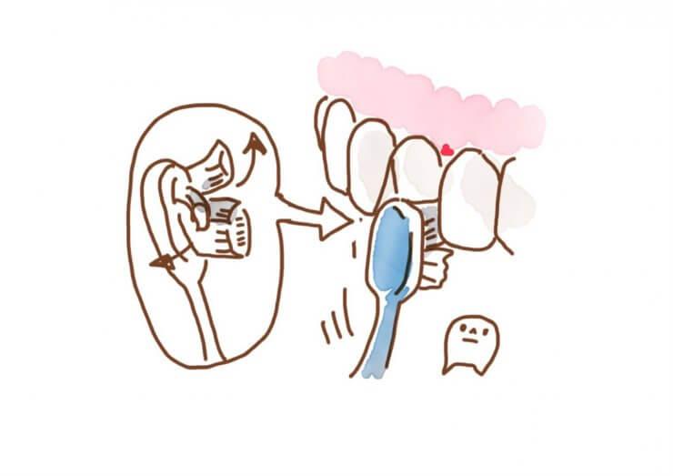 歯と歯の間の歯茎に歯ブラシを挿入。歯ブラシは先端部分1/2を使うのがポイント(提供:こどもと女性の歯科クリニック)